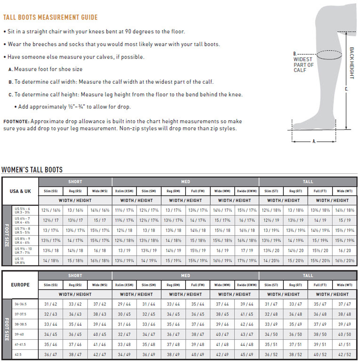 Ariat Ladies' Tall Boot Sizing