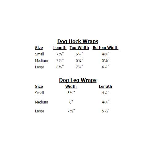 Back On Track Dog Wrap Sizing Chart