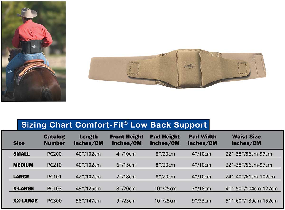 Professional's Choice Comfort Fit Low Back Support Sizing