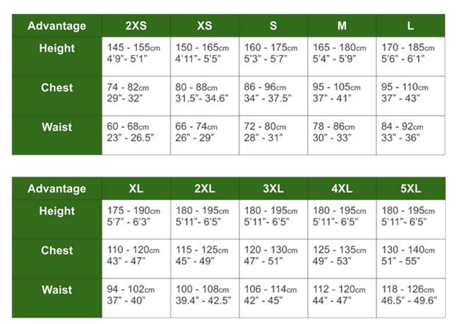 Hit Air Advantage Airbag Vest Sizing Chart