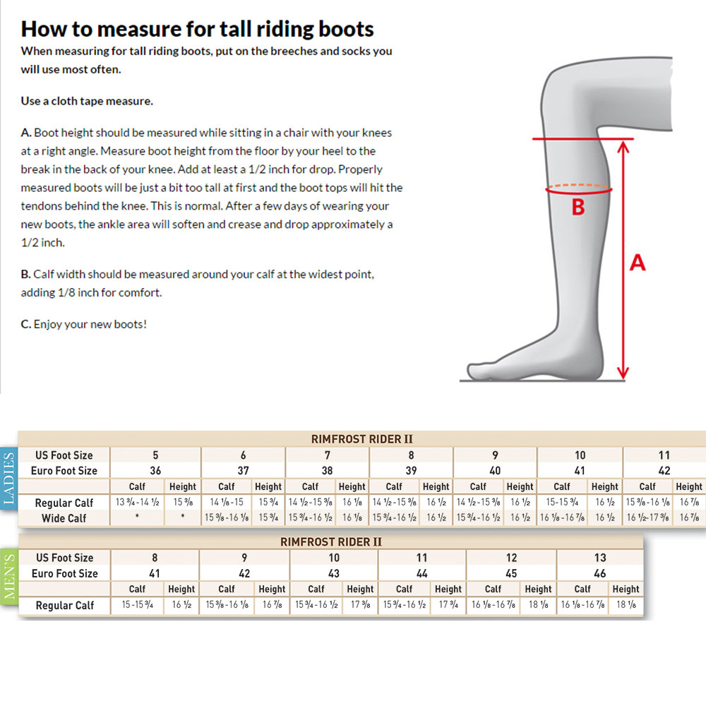 Mountain Horse Rimfrost Rider Tall Boot Sizing Chart