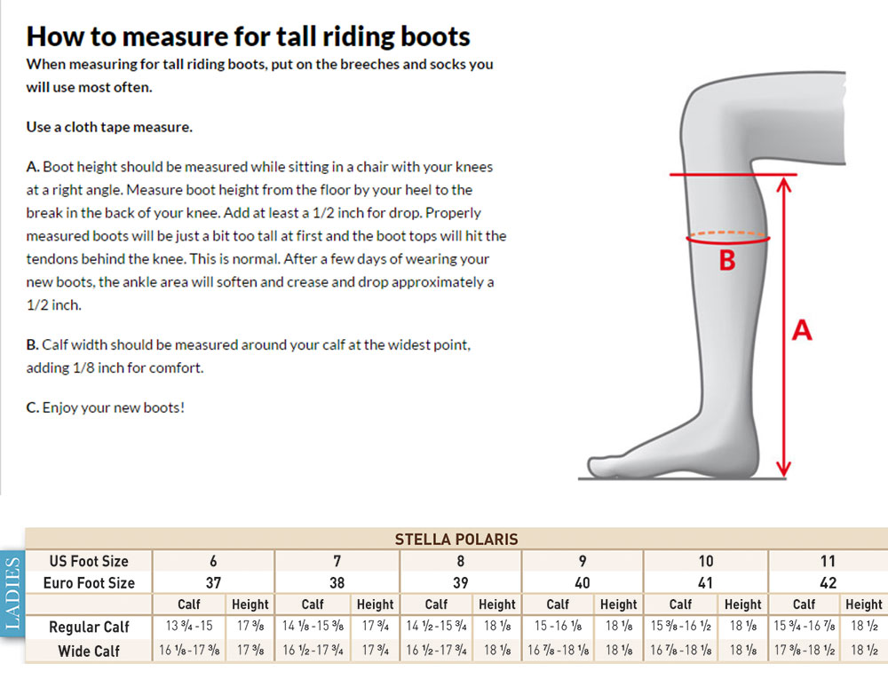 Mountain Horse Stella Polaris Sizing Chart
