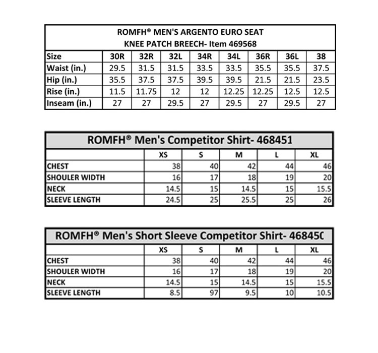Romfh Men's Sizing Chart