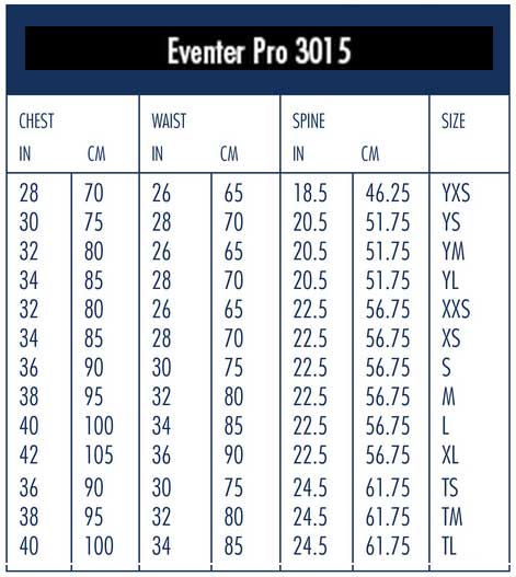 Tipperary Eventer Pro Vest Sizing Chart