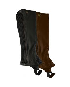 Ovation PRO Top Grain Leather Ribbed Half Chaps