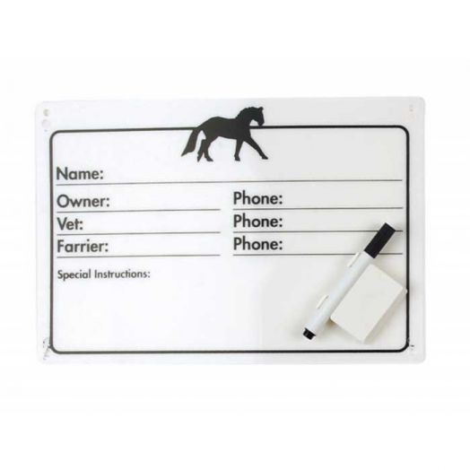 Horse Stall Info Plaque - Dry Erase with Pen