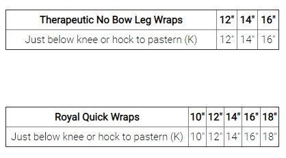 BackOnTrackLegWrapsSizeChart